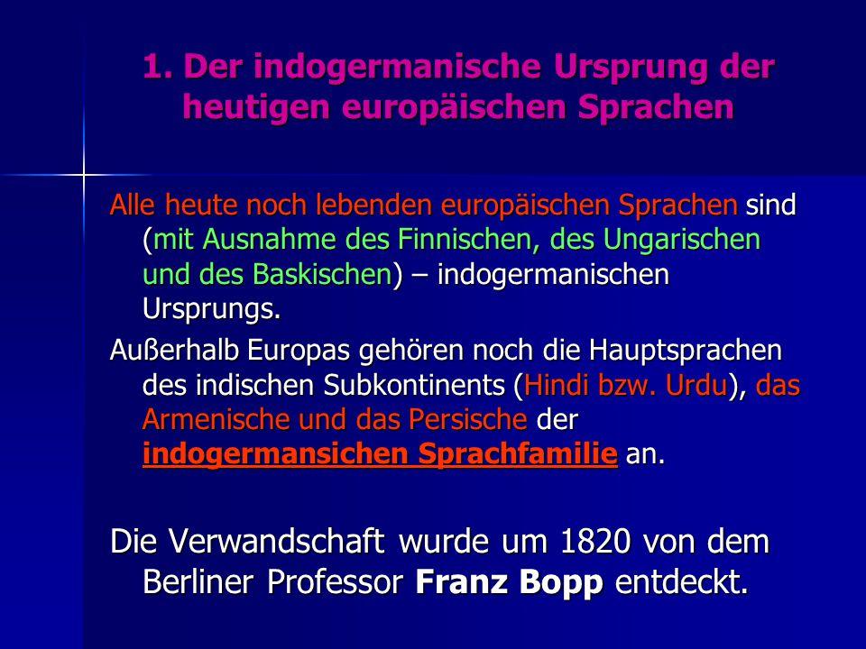 1. Der indogermanische Ursprung der heutigen europäischen Sprachen Alle heute noch lebenden europäischen Sprachen sind (mit Ausnahme des Finnischen, d