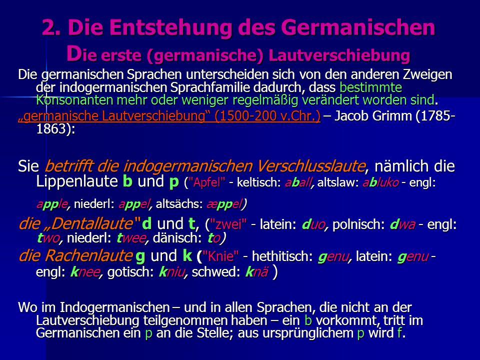 2. Die Entstehung des Germanischen D ie erste (germanische) Lautverschiebung Die germanischen Sprachen unterscheiden sich von den anderen Zweigen der