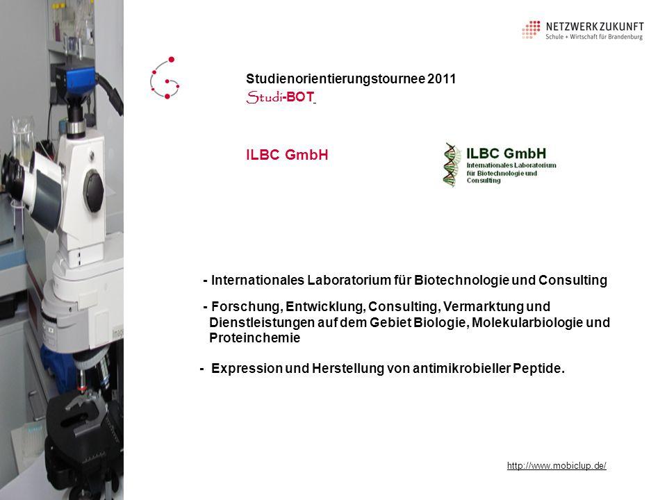 ILBC GmbH - Internationales Laboratorium für Biotechnologie und Consulting - Forschung, Entwicklung, Consulting, Vermarktung und Dienstleistungen auf dem Gebiet Biologie, Molekularbiologie und Proteinchemie - Expression und Herstellung von antimikrobieller Peptide.