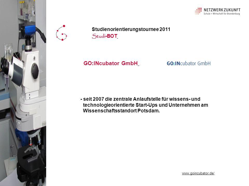 - seit 2007 die zentrale Anlaufstelle für wissens- und technologieorientierte Start-Ups und Unternehmen am Wissenschaftsstandort Potsdam.