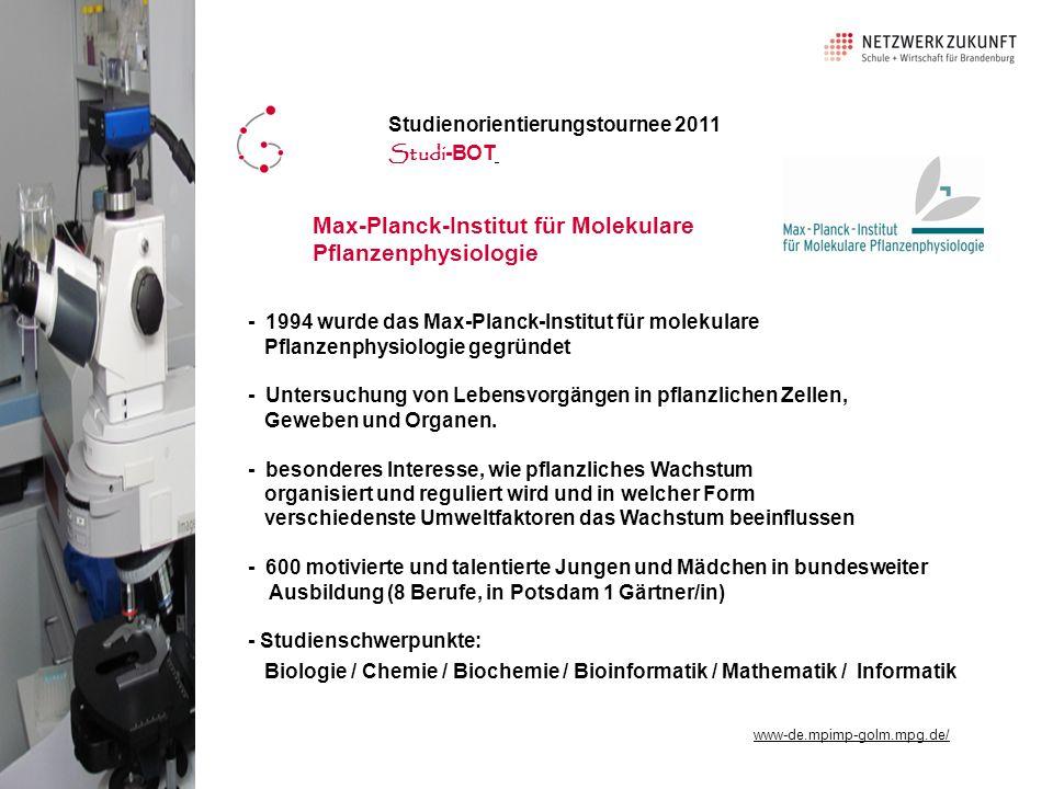 - 1994 wurde das Max-Planck-Institut für molekulare Pflanzenphysiologie gegründet - Untersuchung von Lebensvorgängen in pflanzlichen Zellen, Geweben und Organen.