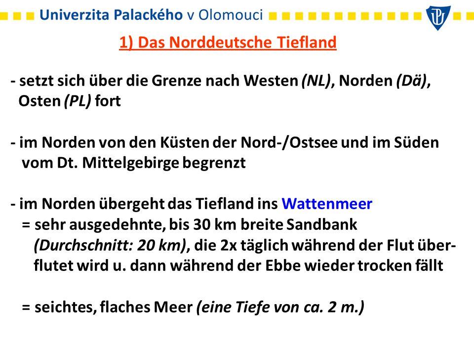 1) Das Norddeutsche Tiefland - setzt sich über die Grenze nach Westen (NL), Norden (Dä), Osten (PL) fort - im Norden von den Küsten der Nord-/Ostsee u