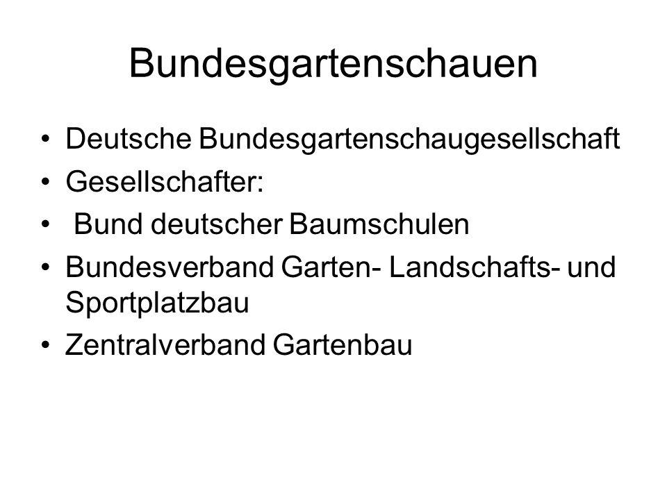 Bundesgartenschauen Deutsche Bundesgartenschaugesellschaft Gesellschafter: Bund deutscher Baumschulen Bundesverband Garten- Landschafts- und Sportplatzbau Zentralverband Gartenbau