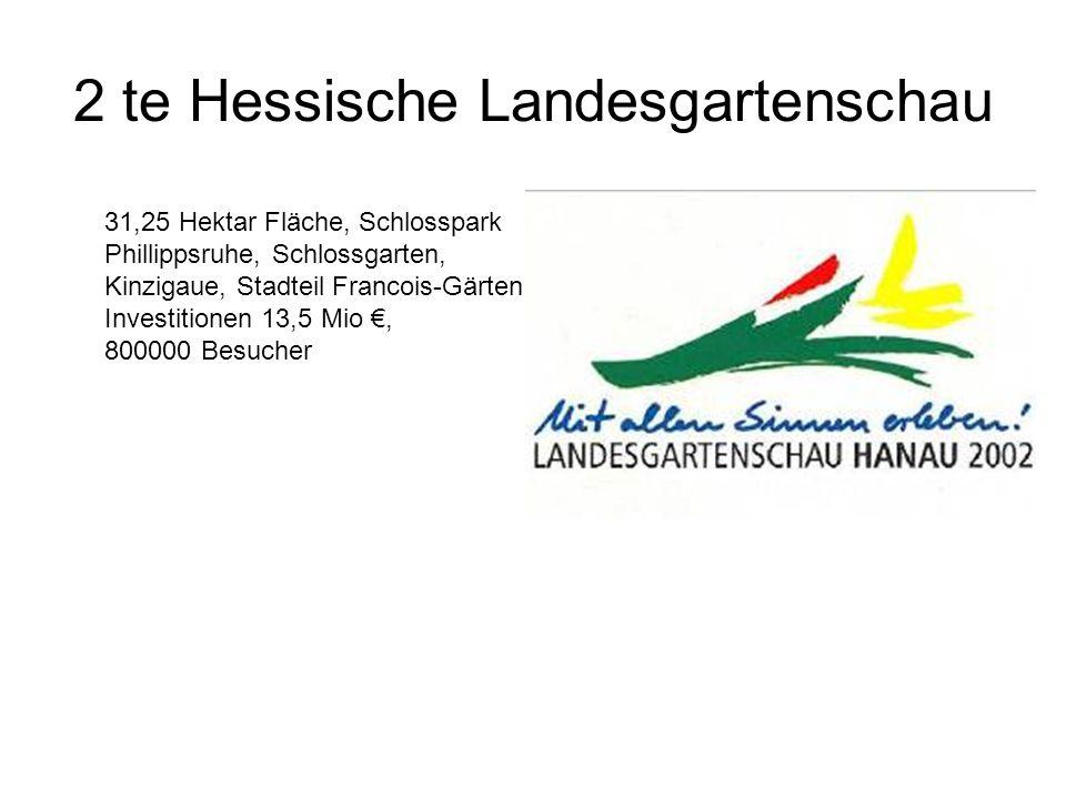 2 te Hessische Landesgartenschau 31,25 Hektar Fläche, Schlosspark Phillippsruhe, Schlossgarten, Kinzigaue, Stadteil Francois-Gärten Investitionen 13,5 Mio €, 800000 Besucher