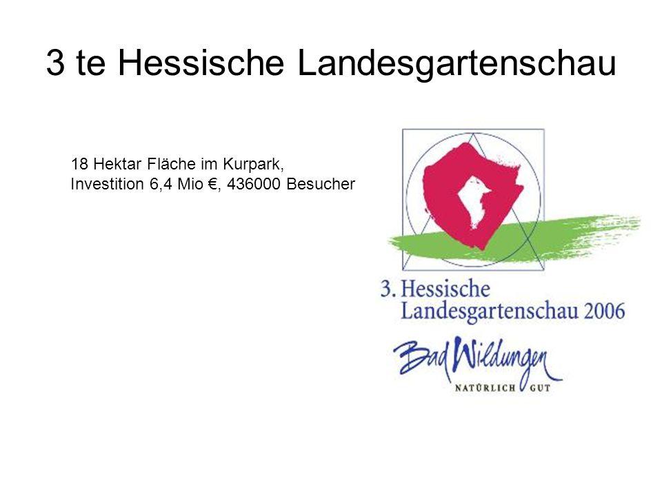 3 te Hessische Landesgartenschau 18 Hektar Fläche im Kurpark, Investition 6,4 Mio €, 436000 Besucher
