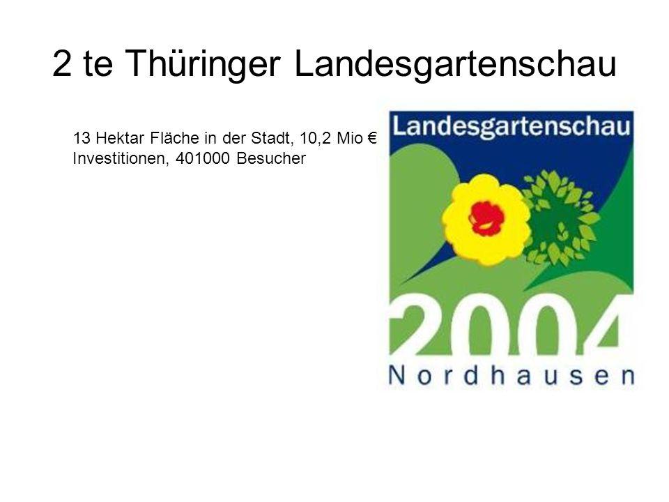 2 te Thüringer Landesgartenschau 13 Hektar Fläche in der Stadt, 10,2 Mio € Investitionen, 401000 Besucher