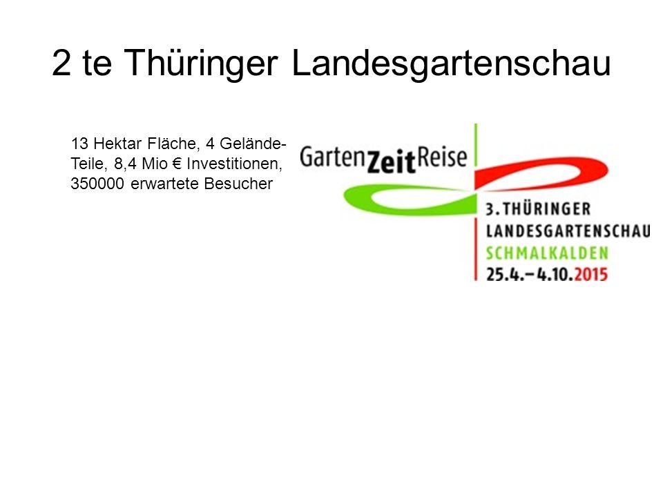 2 te Thüringer Landesgartenschau 13 Hektar Fläche, 4 Gelände- Teile, 8,4 Mio € Investitionen, 350000 erwartete Besucher