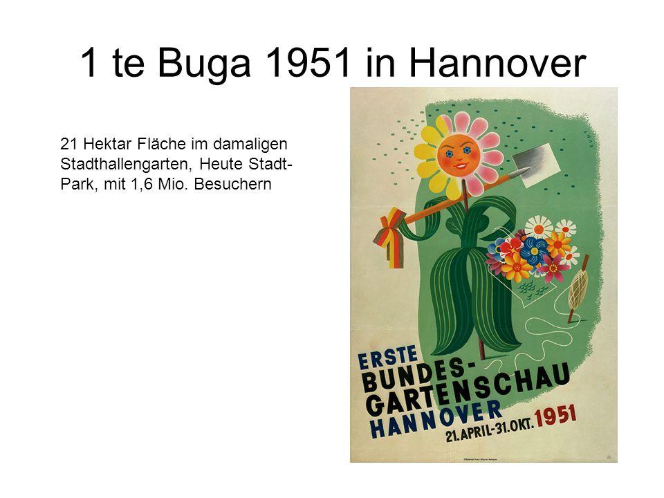1 te Buga 1951 in Hannover 21 Hektar Fläche im damaligen Stadthallengarten, Heute Stadt- Park, mit 1,6 Mio.