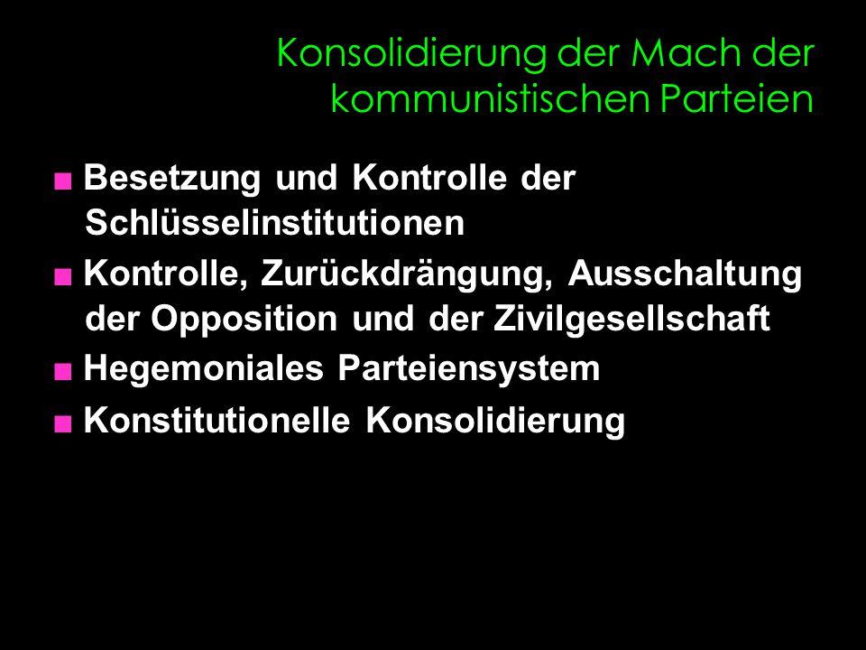 Konsolidierung der Mach der kommunistischen Parteien ■ Besetzung und Kontrolle der Schlüsselinstitutionen ■ Kontrolle, Zurückdrängung, Ausschaltung de
