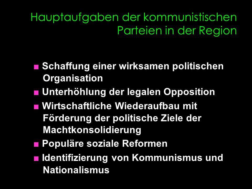 Hauptaufgaben der kommunistischen Parteien in der Region ■ Schaffung einer wirksamen politischen Organisation ■ Unterhöhlung der legalen Opposition ■