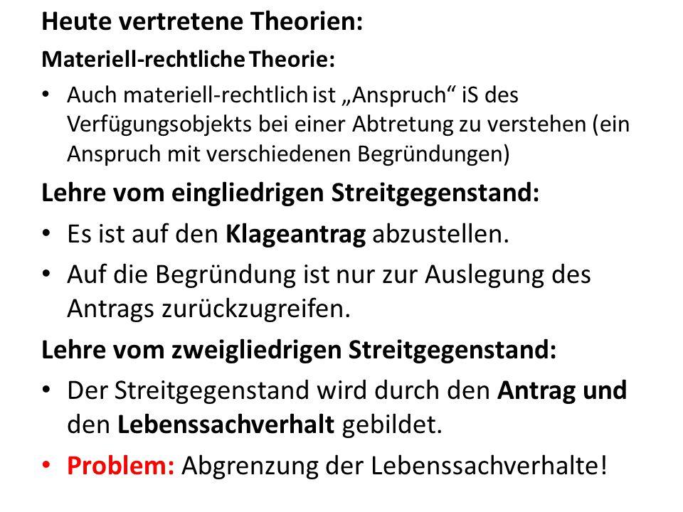"""Heute vertretene Theorien: Materiell-rechtliche Theorie: Auch materiell-rechtlich ist """"Anspruch"""" iS des Verfügungsobjekts bei einer Abtretung zu verst"""