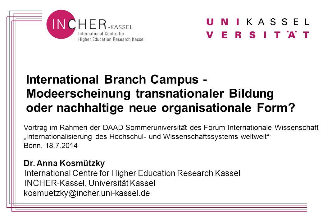 International Branch Campus - Modeerscheinung transnationaler Bildung oder nachhaltige neue organisationale Form.