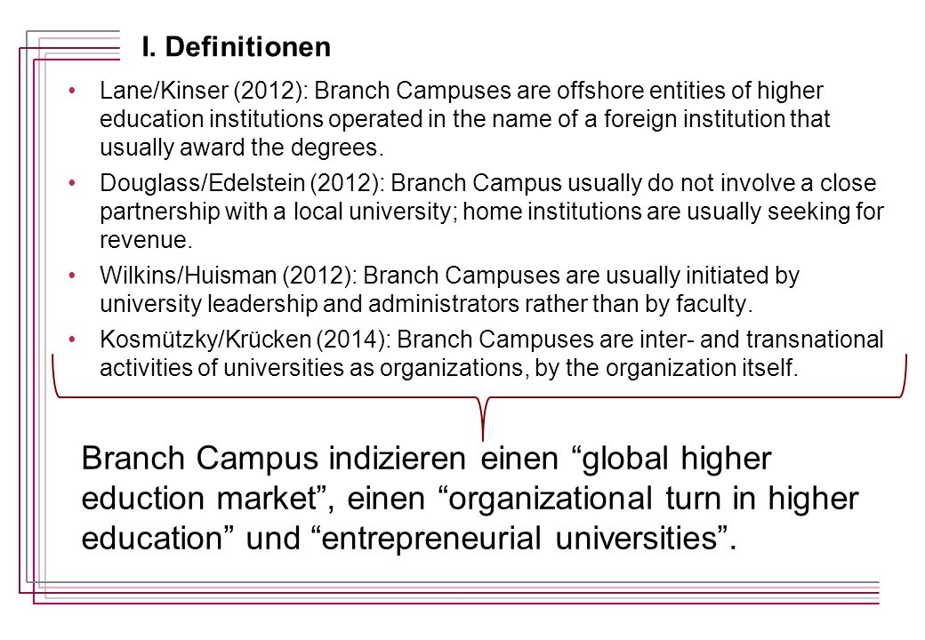 Lane/Kinser (2012): Branch Campuses are offshore entities of higher education institutions operated in the name of a foreign institution that usually award the degrees.