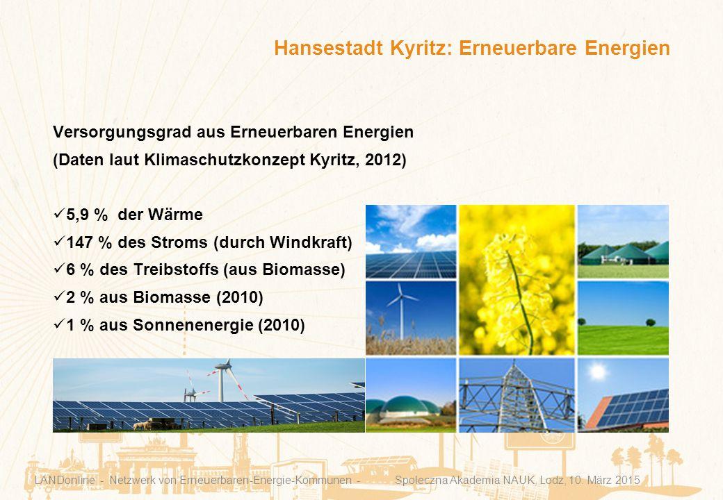 Hansestadt Kyritz: Erneuerbare Energien LANDonline - Netzwerk von Erneuerbaren-Energie-Kommunen - Spoleczna Akademia NAUK, Lodz, 10. März 2015 Versorg
