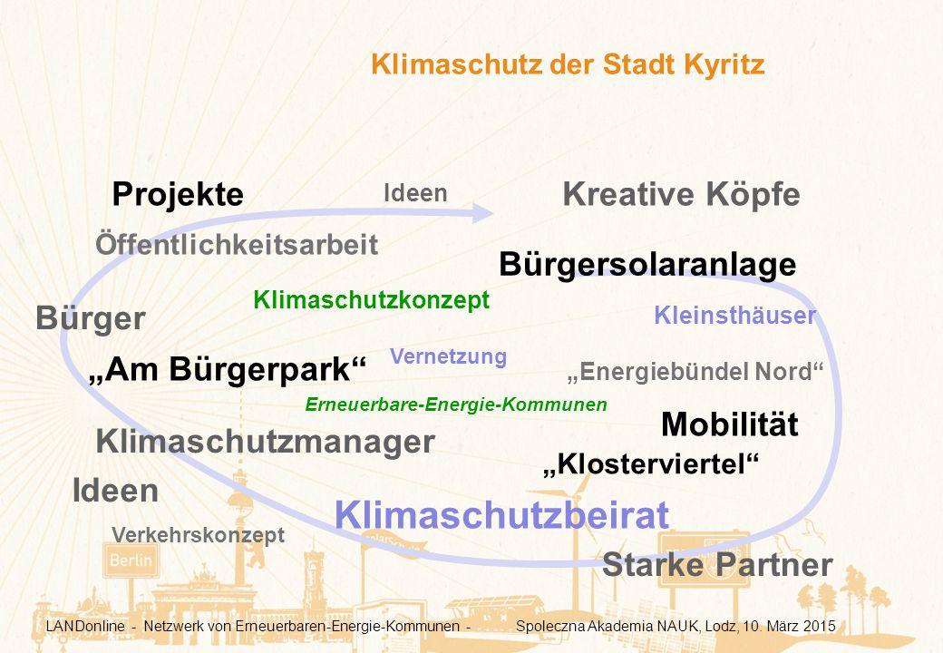 """Klimaschutz der Stadt Kyritz Klimaschutzkonzept Öffentlichkeitsarbeit Klimaschutzmanager """"Energiebündel Nord"""" Klimaschutzbeirat """"Am Bürgerpark"""" """"Klost"""