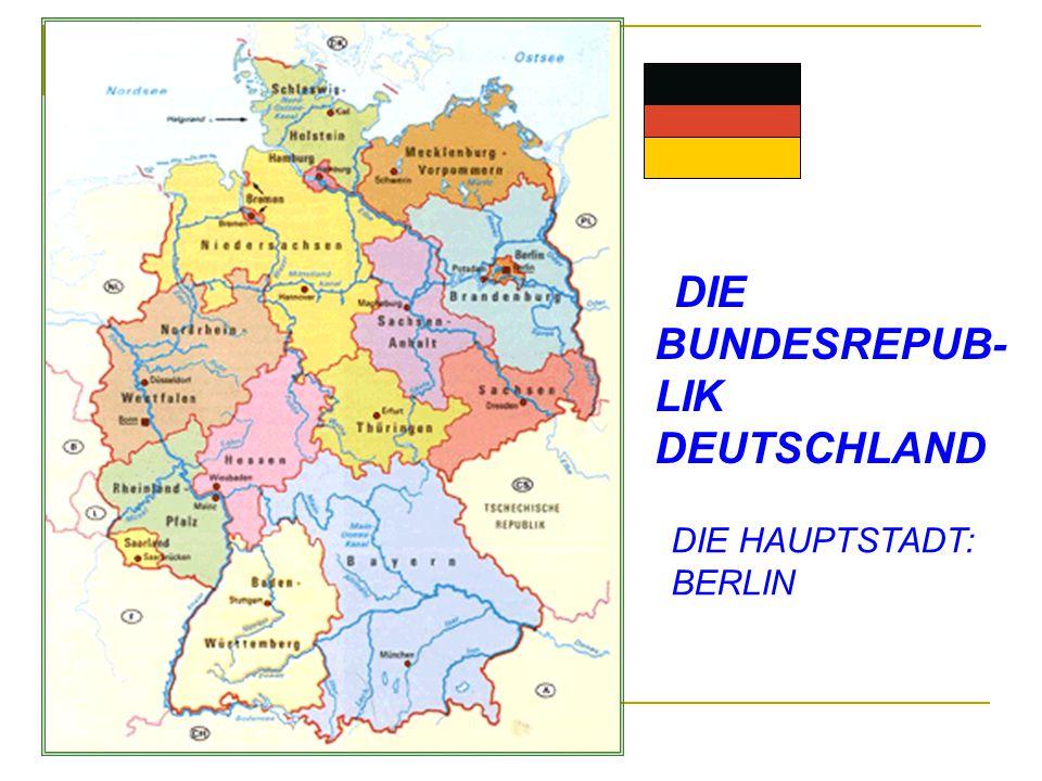 1.BREMEN- BREMEN 2.BERLIN- BERLIN 3.BRANDENBURG- POTSDAM 4.BAYERN- MUNCHEN 5.BADEN-WURTTEMBERG- STUTTGART 6.HAMBURG- HAMBURG 7.HESSEN- WIESBADEN 8.MECKLENBURG- VORPOMMERN-SCHWERIN 9.NIEDERSACHSEN- HANNOVER 10.NORDRHEIN-WESTFALEN- DUSSELDORF 11.RHEINLAND-PFALZ- MAINZ 12.SAARLAND-SAARBRUCKEN 13.SACHSEN- DRESDEN 14.SACHSEN-ANHALT- MAGDEBURG 15.SCHLESWIG-HOLSTEIN-KIEL 16.THURINGEN-ERFURT DIE BUNDESLANDER UND IHRE HAUPTSTADTE