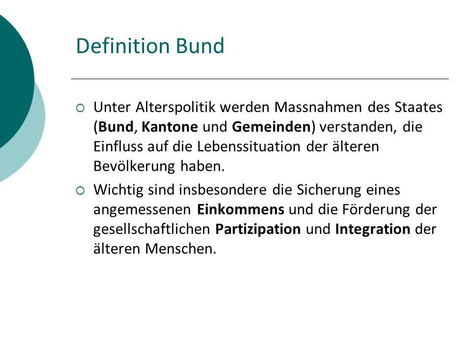 Definition Bund  Unter Alterspolitik werden Massnahmen des Staates (Bund, Kantone und Gemeinden) verstanden, die Einfluss auf die Lebenssituation der