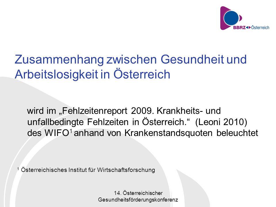 14. Österreichischer Gesundheitsförderungskonferenz Werden arbeitslose Personen zunehmend kränker?