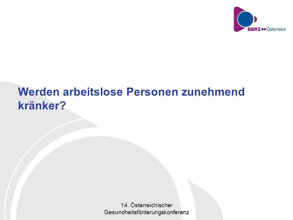 14. Österreichischer Gesundheitsförderungskonferenz Werden arbeitslose Personen zunehmend kränker