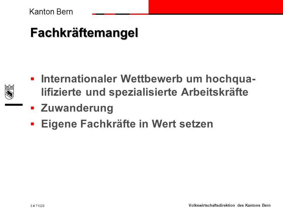 Kanton Bern Volkswirtschaftsdirektion des Kantons Bern Fachkräftemangel  Internationaler Wettbewerb um hochqua- lifizierte und spezialisierte Arbeitskräfte  Zuwanderung  Eigene Fachkräfte in Wert setzen 3 # 71028