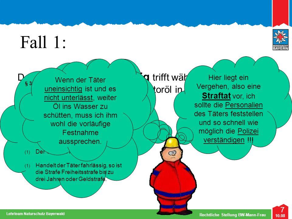 7 10.08 Rechtliche Stellung BW-Mann-Frau Lehrteam Naturschutz Bayerwald Fall 1: Der Bergwachtmann Wichtig trifft während seiner Streife auf eine Perso