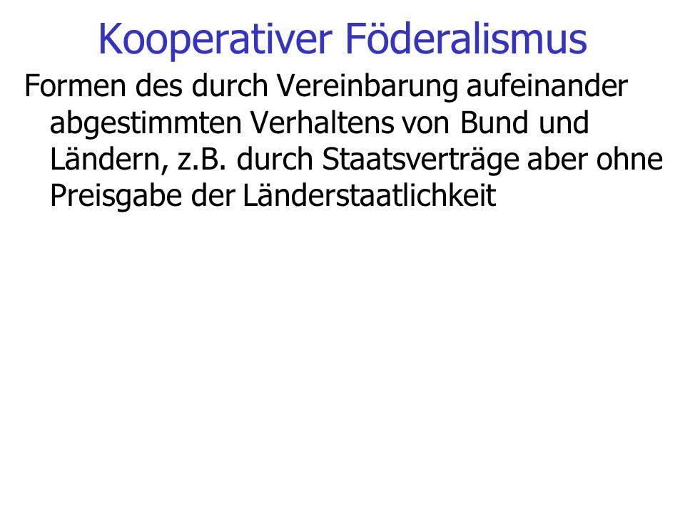 Kooperativer Föderalismus Formen des durch Vereinbarung aufeinander abgestimmten Verhaltens von Bund und Ländern, z.B. durch Staatsverträge aber ohne