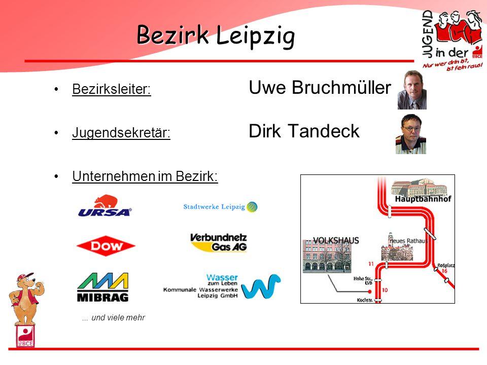 Bezirk Leipzig Bezirksleiter: Uwe Bruchmüller Jugendsekretär: Dirk Tandeck Unternehmen im Bezirk:... und viele mehr