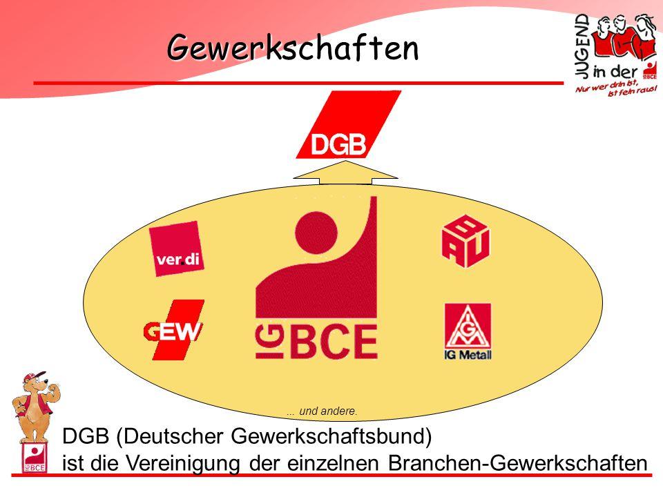 Gewerkschaften... und andere. DGB (Deutscher Gewerkschaftsbund) ist die Vereinigung der einzelnen Branchen-Gewerkschaften
