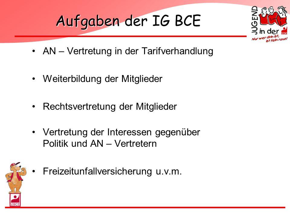 Aufgaben der IG BCE AN – Vertretung in der Tarifverhandlung Weiterbildung der Mitglieder Rechtsvertretung der Mitglieder Vertretung der Interessen geg