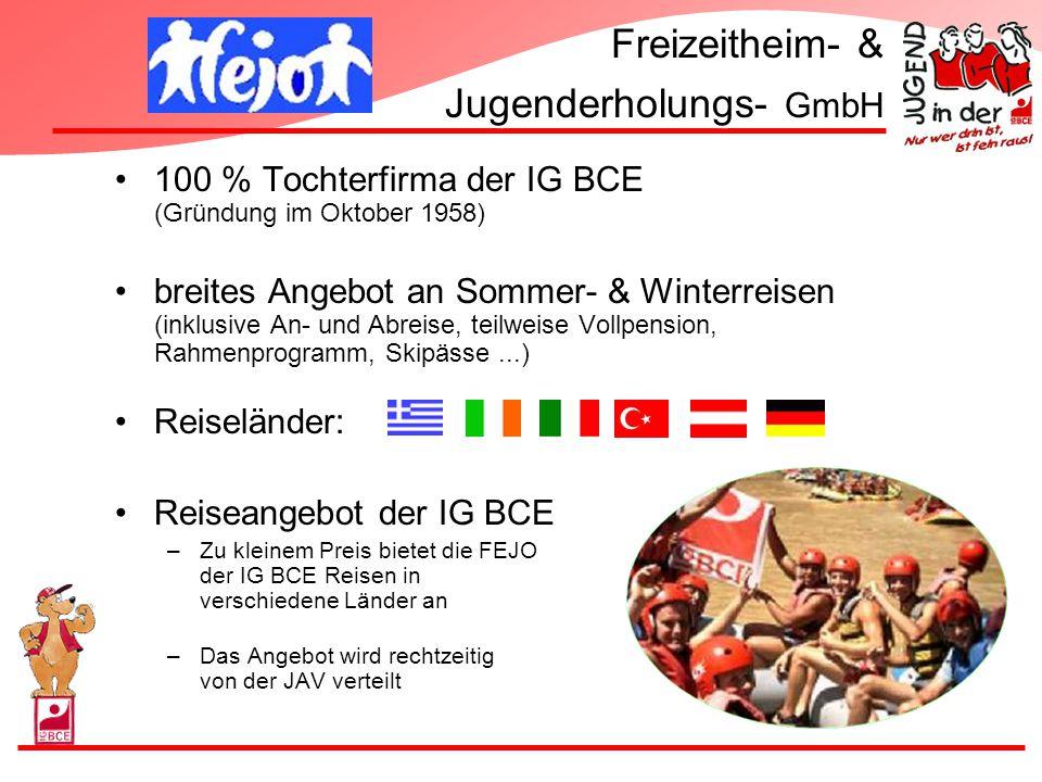 Freizeitheim- & Jugenderholungs- GmbH 100 % Tochterfirma der IG BCE (Gründung im Oktober 1958) breites Angebot an Sommer- & Winterreisen (inklusive An
