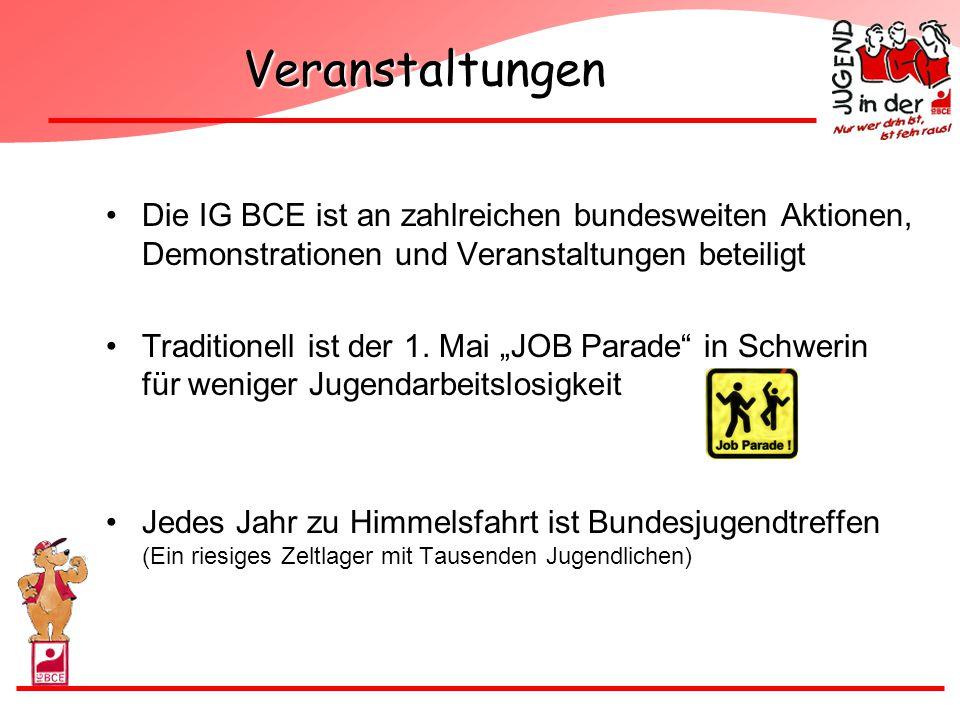 """Veranstaltungen Die IG BCE ist an zahlreichen bundesweiten Aktionen, Demonstrationen und Veranstaltungen beteiligt Traditionell ist der 1. Mai """"JOB Pa"""