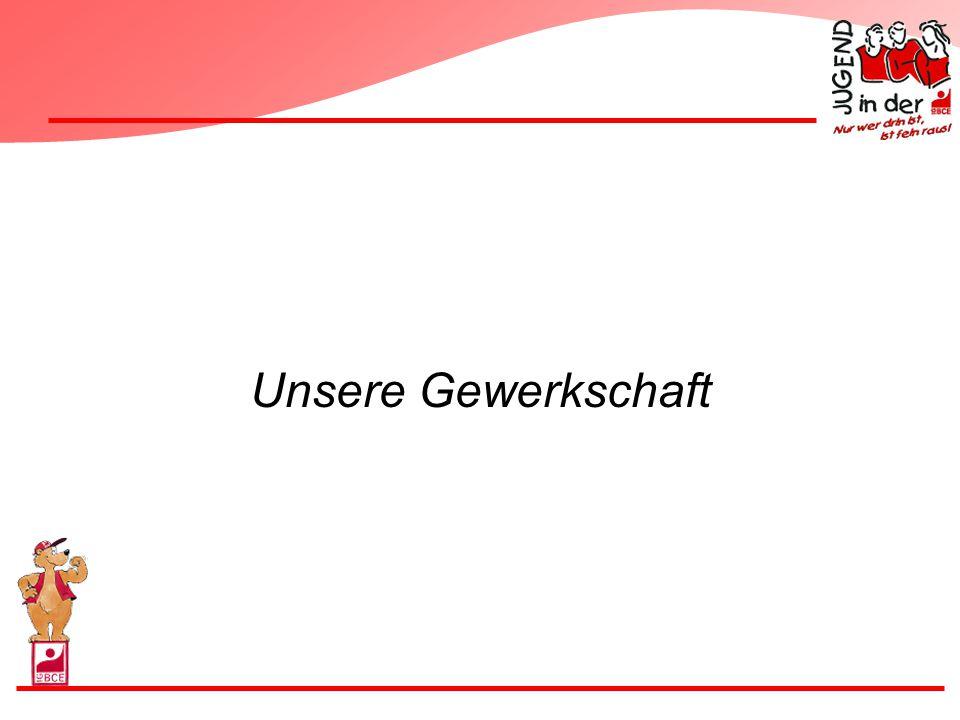 Profil der IG BCE Industriegewerkschaft Bergbau Chemie Energie Über 800.000 Mitglieder Dritt größte Gewerkschaft in Deutschland Vorsitzender: Herr Hubertus Schmoldt