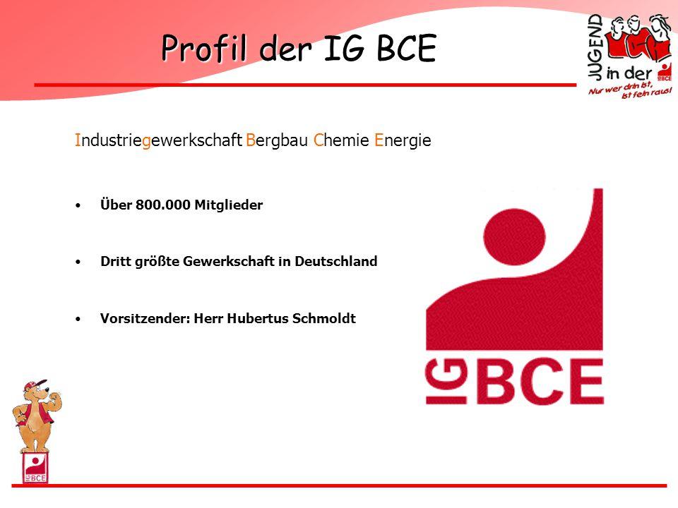 Profil der IG BCE Industriegewerkschaft Bergbau Chemie Energie Über 800.000 Mitglieder Dritt größte Gewerkschaft in Deutschland Vorsitzender: Herr Hub