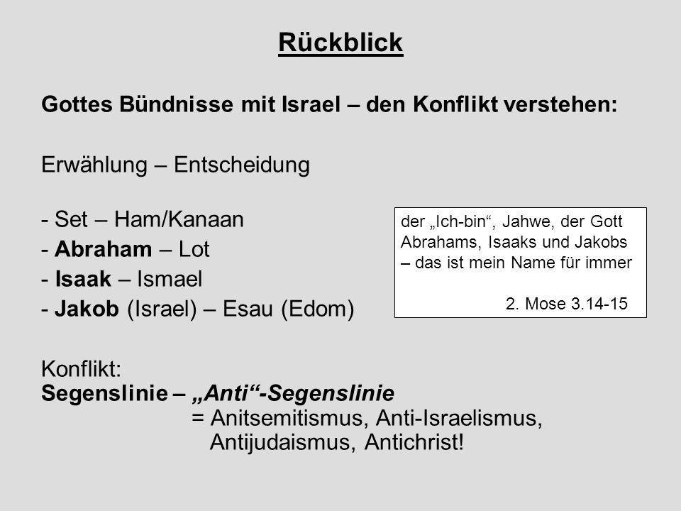 Rückblick Gottes Bündnisse mit Israel – den Konflikt verstehen: Erwählung – Entscheidung - Set – Ham/Kanaan - Abraham – Lot - Isaak – Ismael - Jakob (