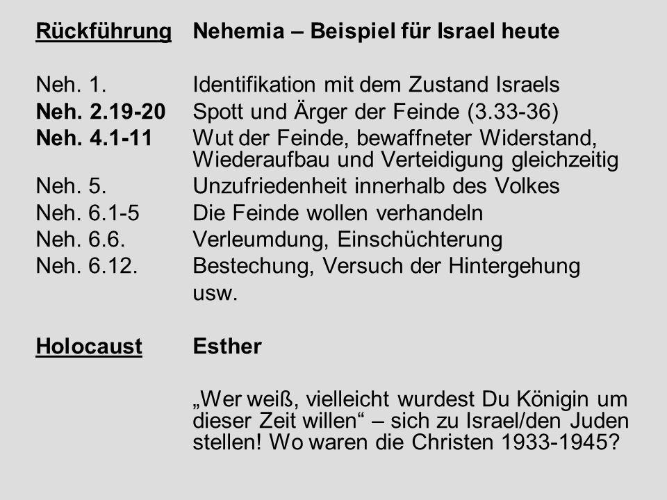 RückführungNehemia – Beispiel für Israel heute Neh. 1.Identifikation mit dem Zustand Israels Neh. 2.19-20Spott und Ärger der Feinde (3.33-36) Neh. 4.1