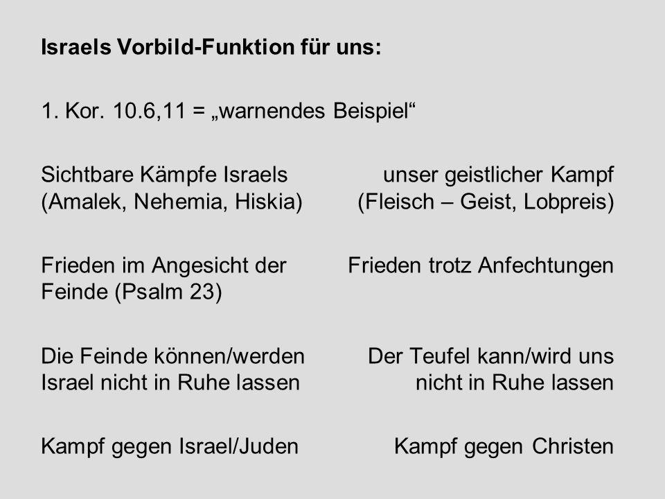 """Israels Vorbild-Funktion für uns: 1. Kor. 10.6,11 = """"warnendes Beispiel"""" Sichtbare Kämpfe Israels unser geistlicher Kampf (Amalek, Nehemia, Hiskia)(Fl"""