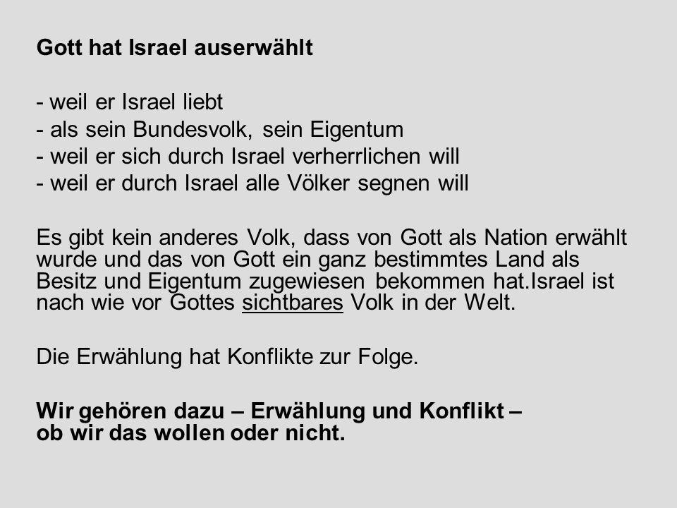 Gott hat Israel auserwählt - weil er Israel liebt - als sein Bundesvolk, sein Eigentum - weil er sich durch Israel verherrlichen will - weil er durch