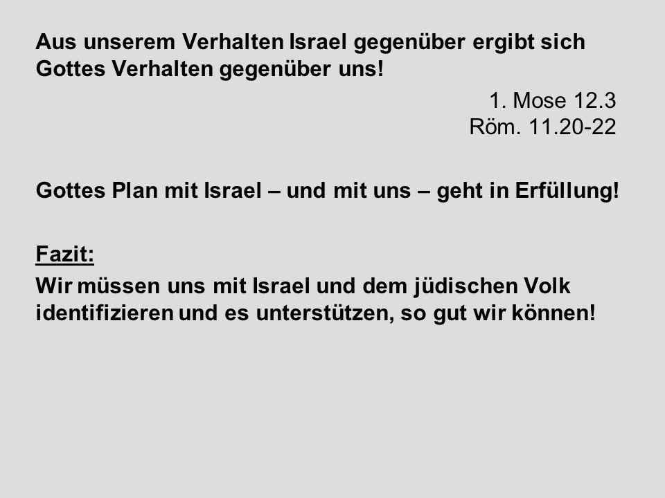 Aus unserem Verhalten Israel gegenüber ergibt sich Gottes Verhalten gegenüber uns! 1. Mose 12.3 Röm. 11.20-22 Gottes Plan mit Israel – und mit uns – g