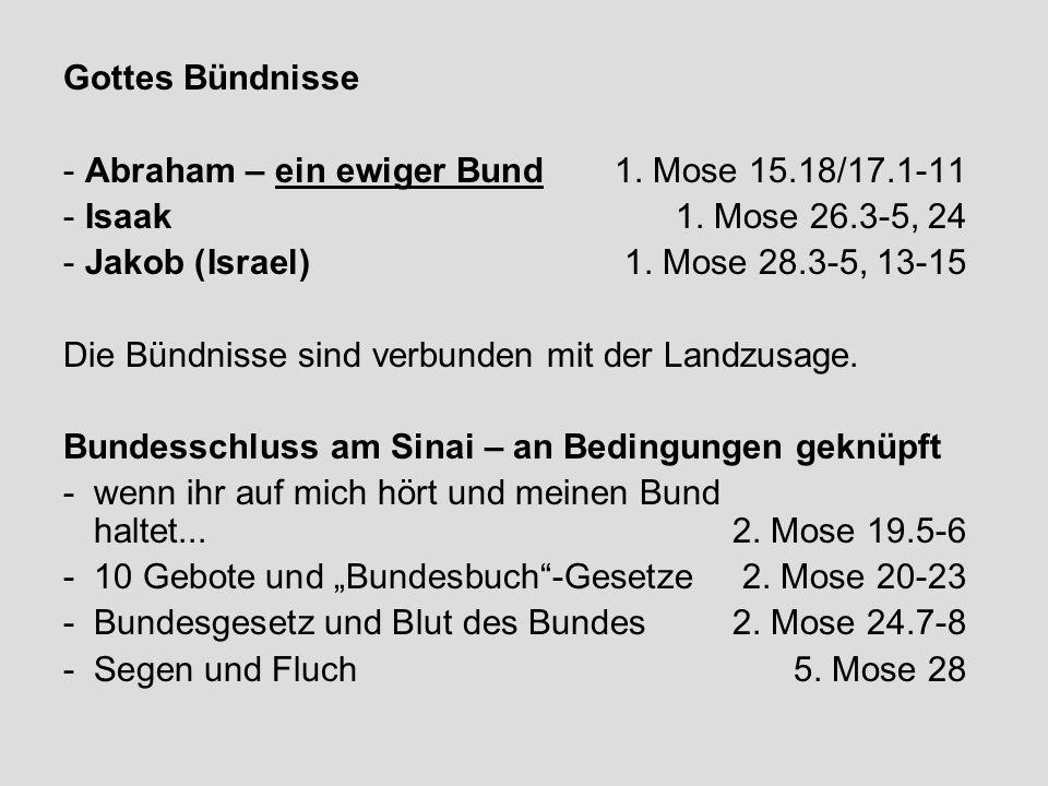 Gottes Bündnisse - Abraham – ein ewiger Bund 1. Mose 15.18/17.1-11 - Isaak 1. Mose 26.3-5, 24 - Jakob (Israel) 1. Mose 28.3-5, 13-15 Die Bündnisse sin