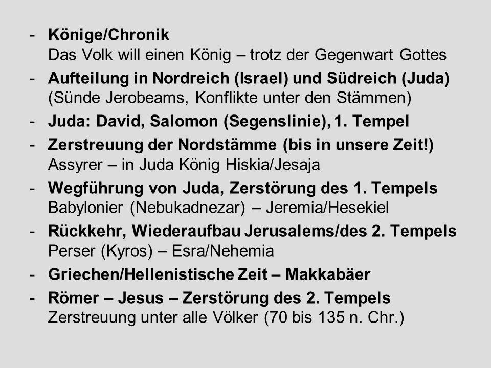 -Könige/Chronik Das Volk will einen König – trotz der Gegenwart Gottes -Aufteilung in Nordreich (Israel) und Südreich (Juda) (Sünde Jerobeams, Konflik