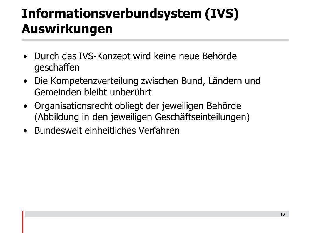 Informationsverbundsystem (IVS) Auswirkungen Durch das IVS-Konzept wird keine neue Behörde geschaffen Die Kompetenzverteilung zwischen Bund, Ländern und Gemeinden bleibt unberührt Organisationsrecht obliegt der jeweiligen Behörde (Abbildung in den jeweiligen Geschäftseinteilungen) Bundesweit einheitliches Verfahren 17