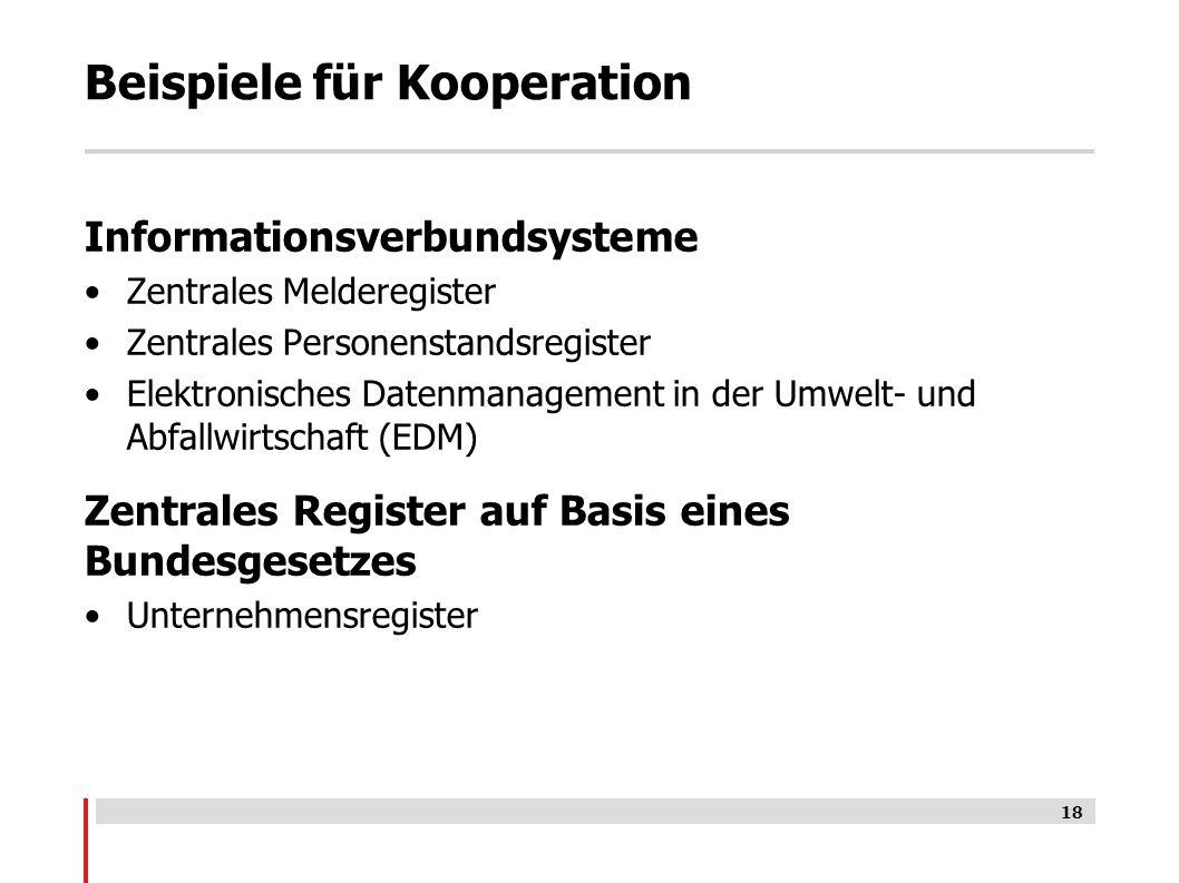 Beispiele für Kooperation Informationsverbundsysteme Zentrales Melderegister Zentrales Personenstandsregister Elektronisches Datenmanagement in der Umwelt- und Abfallwirtschaft (EDM) Zentrales Register auf Basis eines Bundesgesetzes Unternehmensregister 18