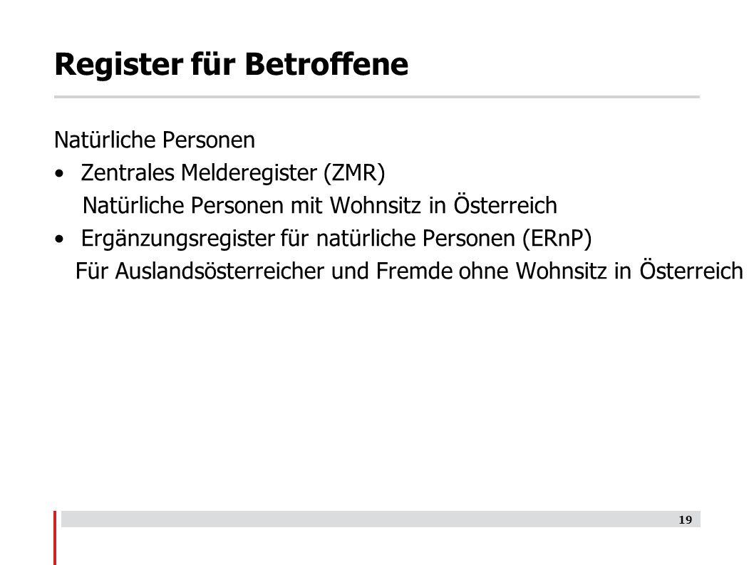 Register für Betroffene Natürliche Personen Zentrales Melderegister (ZMR) Natürliche Personen mit Wohnsitz in Österreich Ergänzungsregister für natürliche Personen (ERnP) Für Auslandsösterreicher und Fremde ohne Wohnsitz in Österreich 19