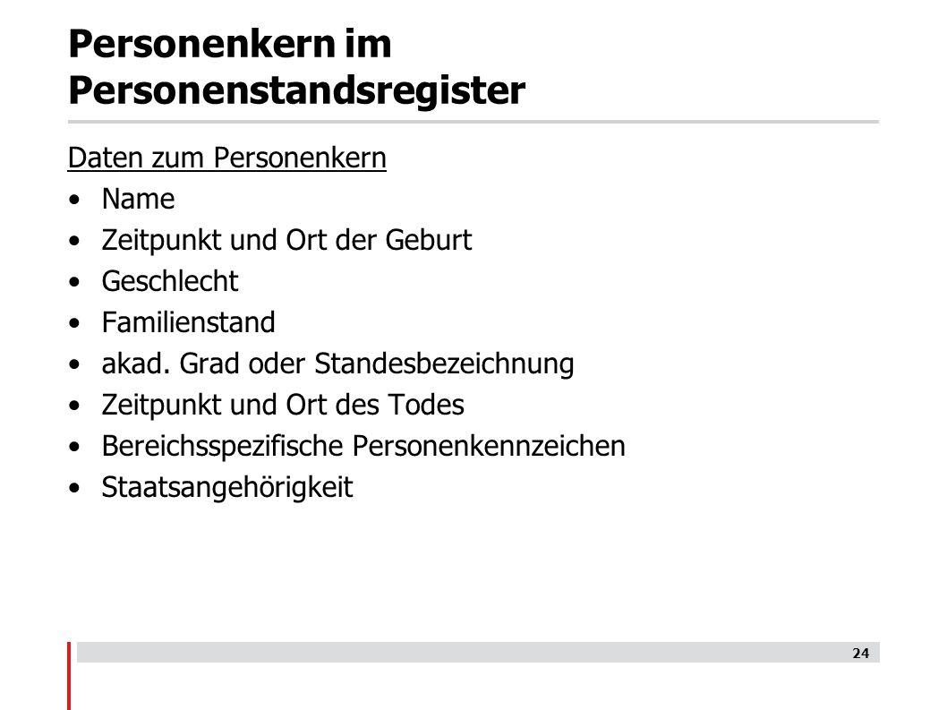 Personenkern im Personenstandsregister Daten zum Personenkern Name Zeitpunkt und Ort der Geburt Geschlecht Familienstand akad.