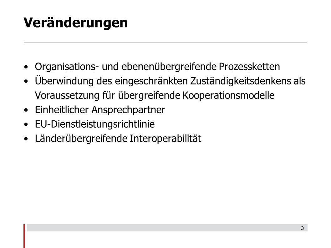 Organisations- und ebenenübergreifende Prozessketten Überwindung des eingeschränkten Zuständigkeitsdenkens als Voraussetzung für übergreifende Kooperationsmodelle Einheitlicher Ansprechpartner EU-Dienstleistungsrichtlinie Länderübergreifende Interoperabilität 3 Veränderungen
