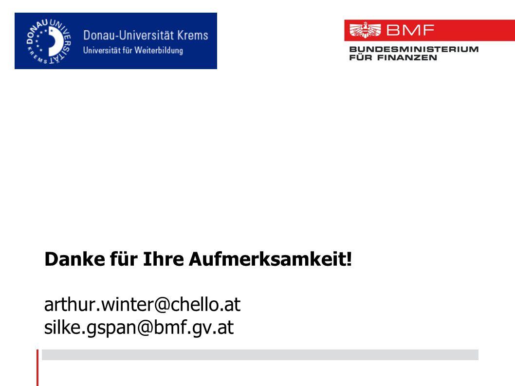 Danke für Ihre Aufmerksamkeit! arthur.winter@chello.at silke.gspan@bmf.gv.at