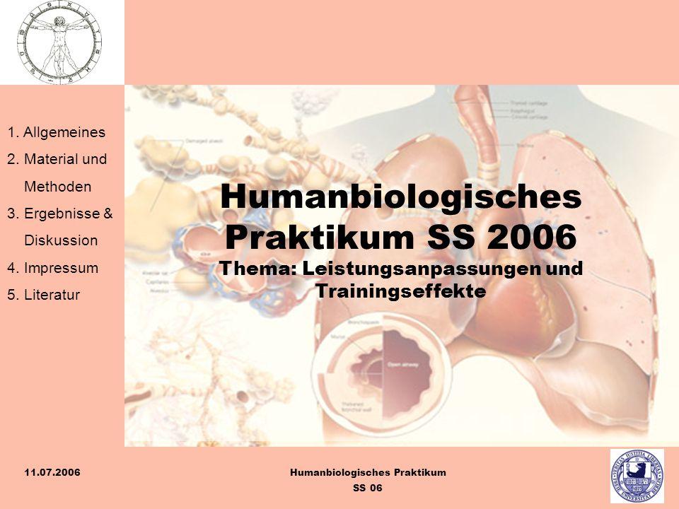 1. Allgemeines 2. Material und Methoden 3. Ergebnisse & Diskussion 4. Impressum 5. Literatur Humanbiologisches Praktikum SS 06 11.07.2006 Humanbiologi