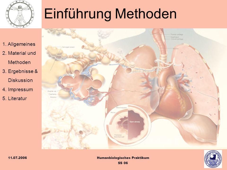 1. Allgemeines 2. Material und Methoden 3. Ergebnisse & Diskussion 4. Impressum 5. Literatur Humanbiologisches Praktikum SS 06 11.07.2006 Einführung M