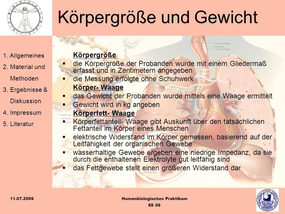 1. Allgemeines 2. Material und Methoden 3. Ergebnisse & Diskussion 4. Impressum 5. Literatur Humanbiologisches Praktikum SS 06 11.07.2006 Körpergröße
