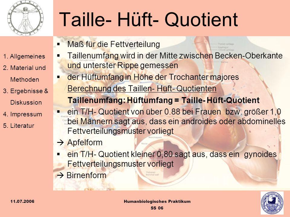 1. Allgemeines 2. Material und Methoden 3. Ergebnisse & Diskussion 4. Impressum 5. Literatur Humanbiologisches Praktikum SS 06 11.07.2006 Taille- Hüft
